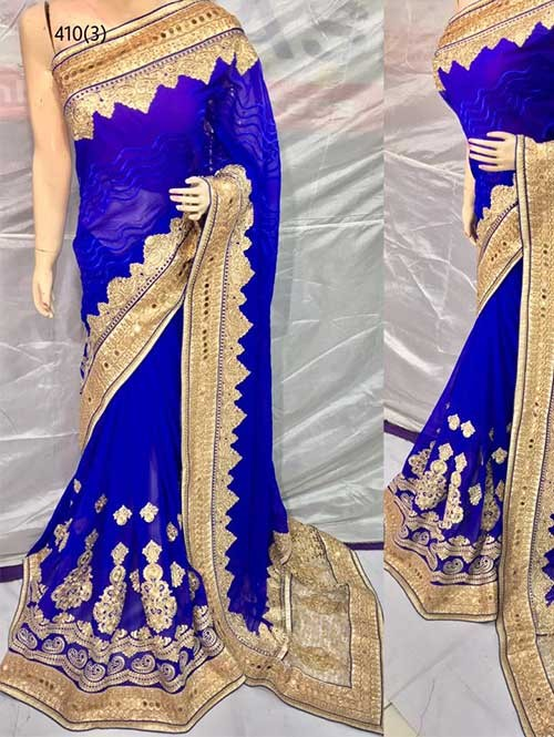Blue Color Heavy Embroidered gorgeous Pure Bemberg saree for Traditional Wear
