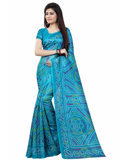 Blue Color Printed bandhni Bhagalpuri saree
