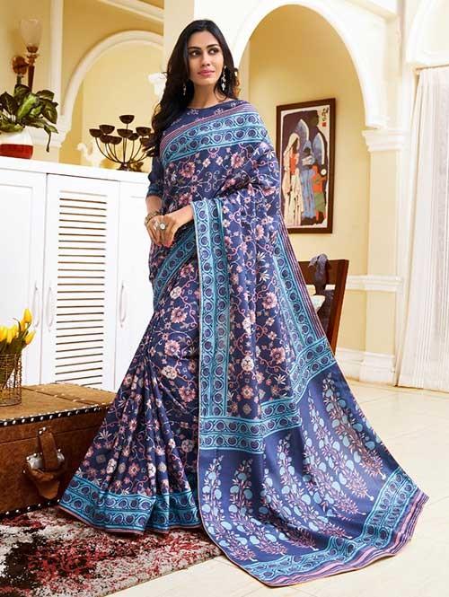 Blue Colored Bandhani Printed Dola Silk Saree - Yaana
