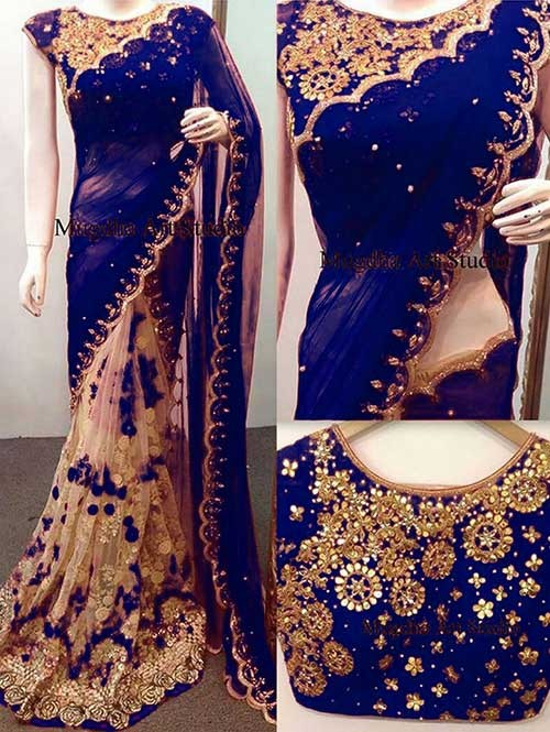 Blue Colored Beautiful 60gm Georgette and Nylone Net Saree
