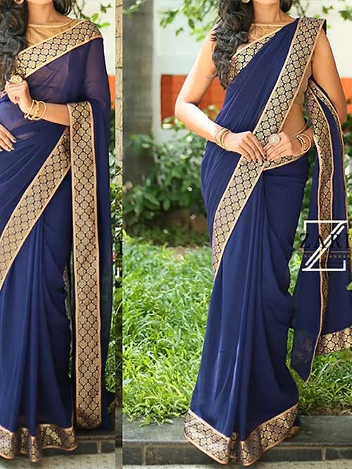 Blue Colored Beautiful 60gm Georgette Saree
