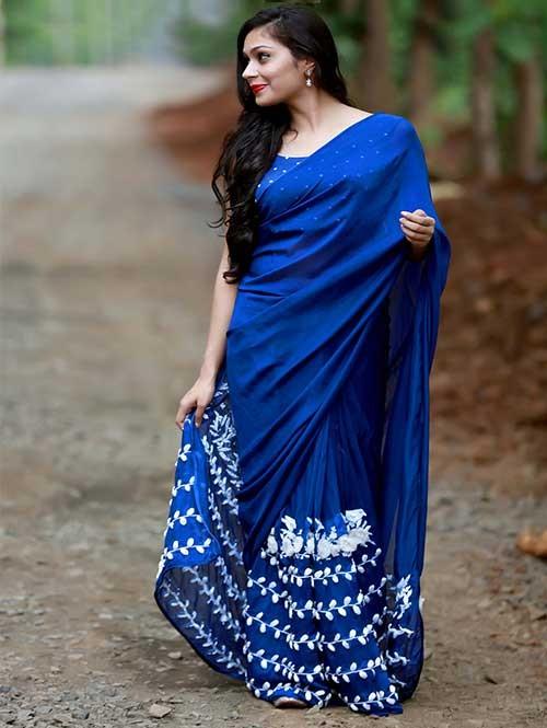 Blue Colored Beautiful 60gm Georgette Saree