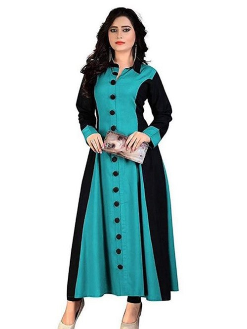 Blue Colored Beautiful A-Line Rayon Kurti