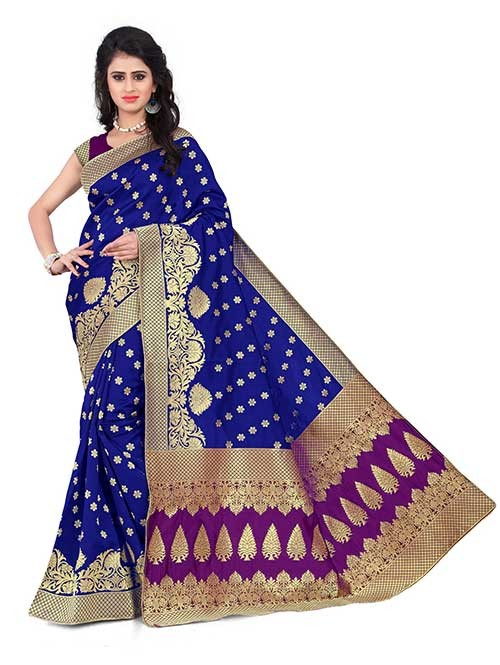 Blue Colored Beautiful Banarasi Silk Saree