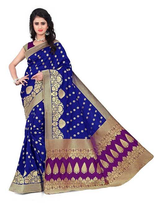 Blue Colored Beautiful Banarasi Silk Saree