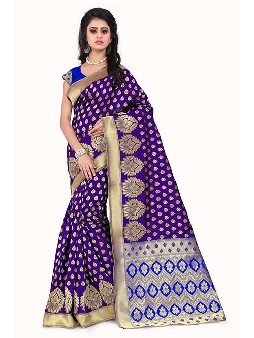 Purple Colored Beautiful Banarasi Silk Saree