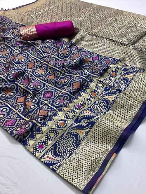 Blue Colored Beautiful Branded Bandhej Weaving Silk Saree - Bandhej