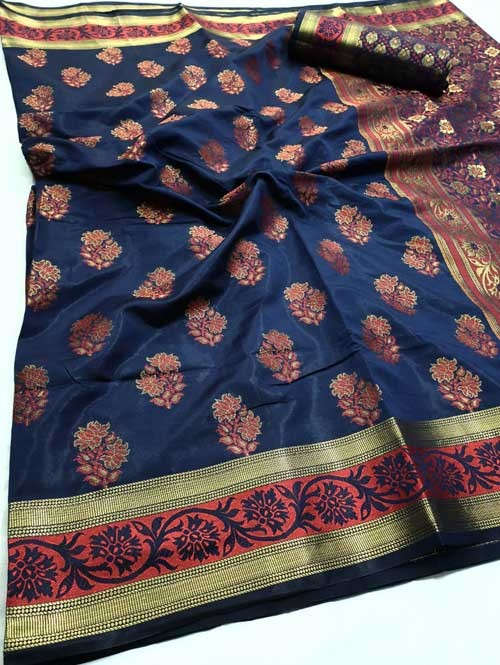 Blue Colored Beautiful Branded Soft Weaving Silk Saree - Lotus