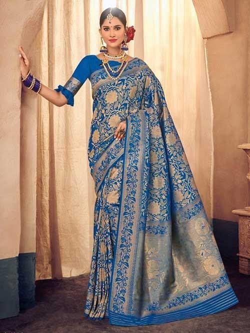Blue Colored Beautiful Branded Weaving Brocade Silk Saree - Queen