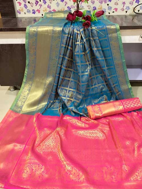 Blue Colored Beautiful Branded Weaving Kanchipurm Silk Saree - Kanan