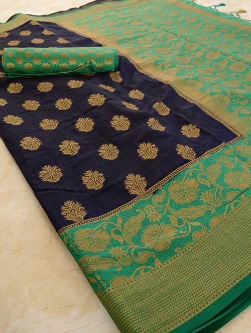 a8d60292cb Blue Colored Beautiful Branded Weaving Pure Silk Saree - Rani Jhanshi