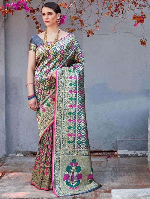 Blue Colored Beautiful Branded Weaving Silk Saree - Kilfi