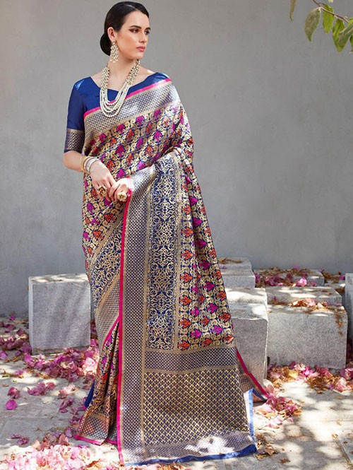 Blue Colored Beautiful Branded Weaving Silk Saree - Kilfi