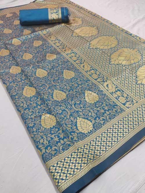 Blue Colored Beautiful Branded Weaving Silk Saree - Raag