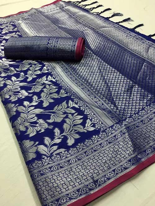 Blue Colored Beautiful Branded Weaving Soft Silk Saree - Kanthpattu