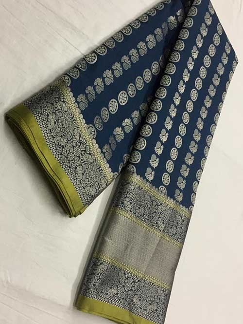 Blue Colored Beautiful Branded Weaving Soft Silk Saree