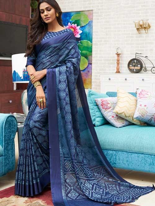Blue Colored Beautiful Brasso Soft Silk Fancy Saree - Elegance