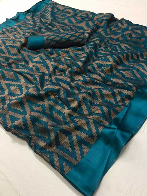 Sea Green Colored Beautiful Brasso Soft Silk Fancy Saree - Maharashi