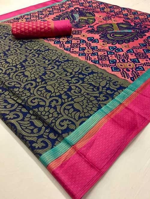 Blue Colored Beautiful Brasso Soft Silk Fancy Saree With Kalamkari - Kudrat