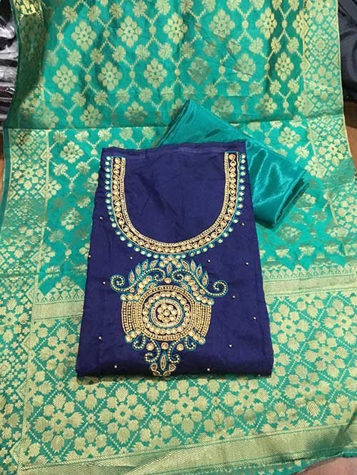 Blue Colored Beautiful Chanderi Cotton Dress Material with Khatali Hand Work.