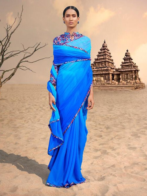 Blue Colored Beautiful Chiffon Shaded Color Saree With Printed Saree