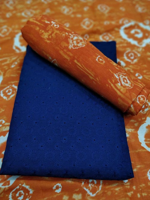 Blue Colored Beautiful Chikan Work Cotton Dress Material.