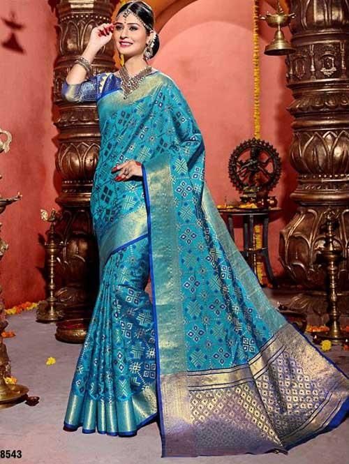 Blue Colored Beautiful Cotton Silk Saree (