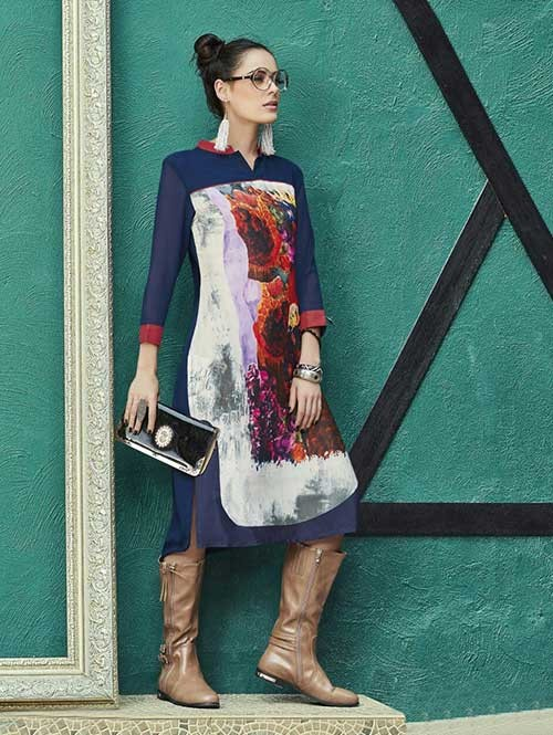 Blue Colored Gorgeous Printed Georgette and Crepe Kurti.