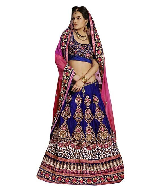 Blue Colored Beautiful Embroidered Micro Velvet Lehenga