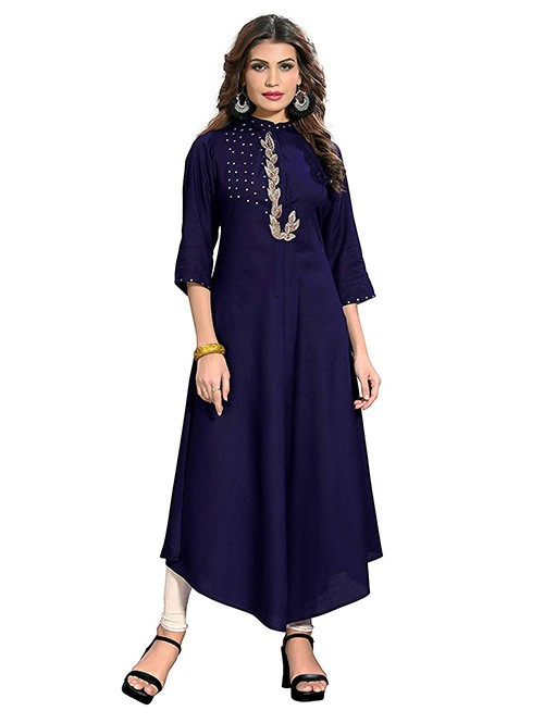 Blue Colored Beautiful Embroidered A-line Rayon Kurti