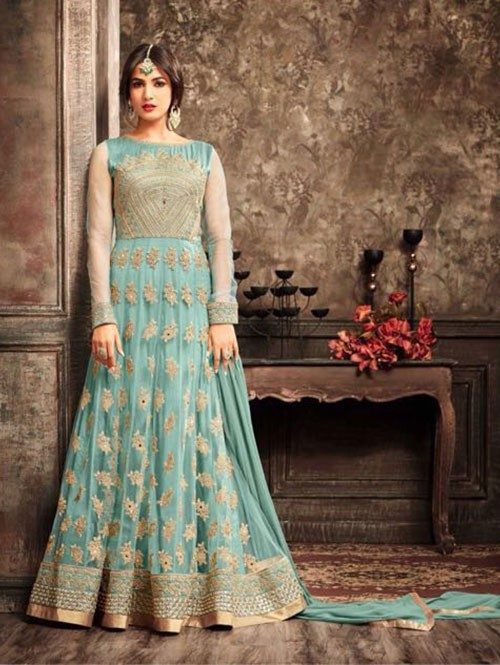 Blue Colored Beautiful Embroidered Banarasi Silk Anarkali Suit