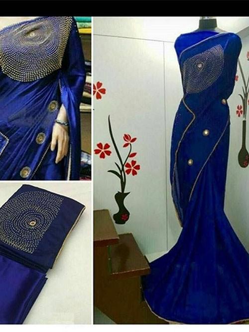 Blue Colored Beautiful Embroidered Chinnon Silk Georgette Saree