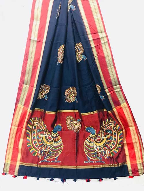 Blue Colored Beautiful Embroidered Cotton Saree