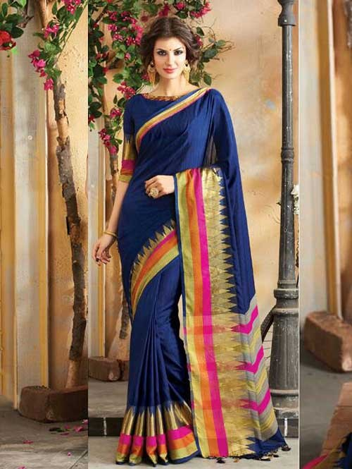 Blue Colored Beautiful Embroidered Cotton Saree With Matching Blouse