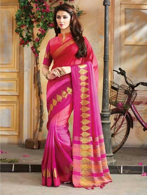 Pink Colored Beautiful Embroidered Cotton Saree With Matching Blouse