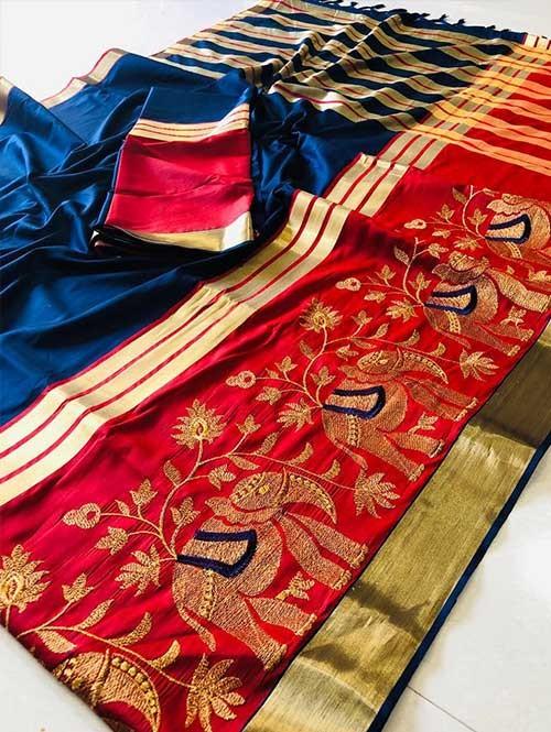 Blue Colored Beautiful Embroidered Cotton Silk Saree