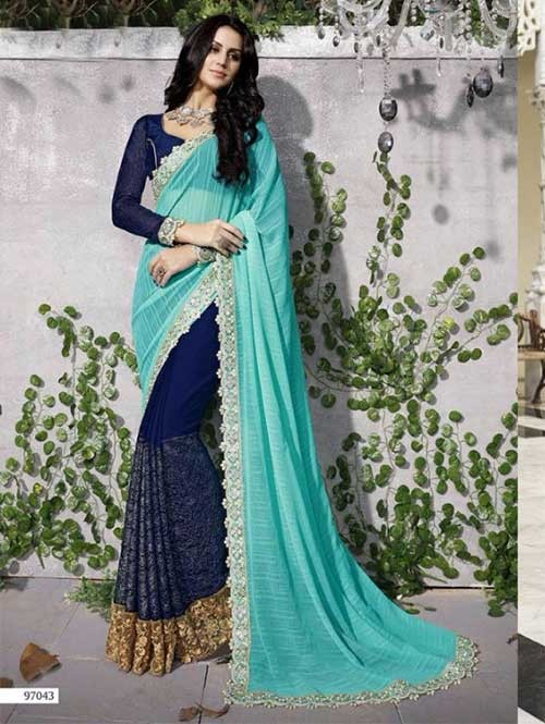Blue Colored Beautiful Embroidered Faux Georgette and Chiffon Saree