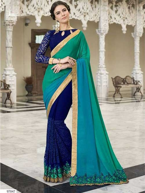Blue Colored Beautiful Embroidered Faux Georgette and Satin Saree