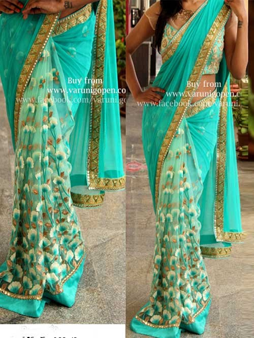 Blue Colored Beautiful Embroidered Georgette and Nylon Net Saree