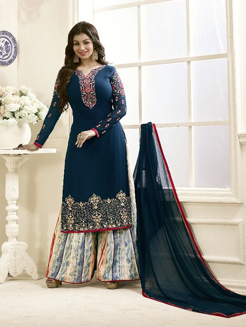 Blue Colored Beautiful Embroidered Georgette Salwar Suit