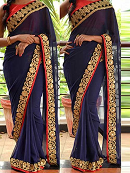 Blue Colored Beautiful Embroidered Georgette Saree