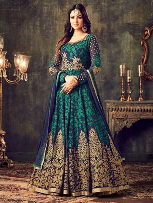 Blue Colored Beautiful Embroidered Heavy Georgette Salwar Suit