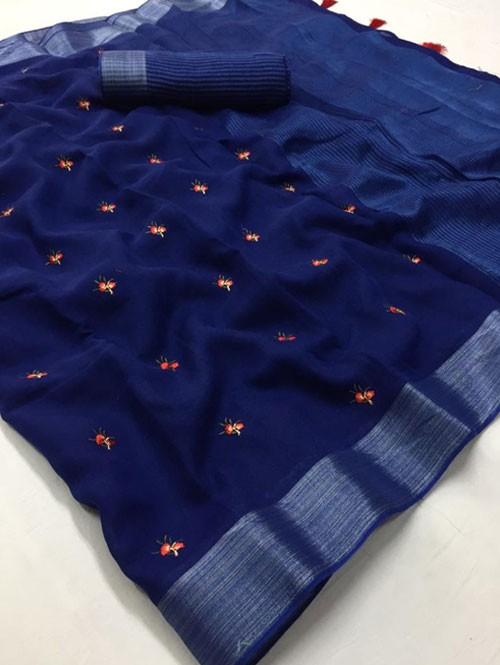 Blue Colored Beautiful Embroidered Linen Saree - Kashmiri