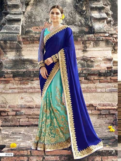 Blue Colored Beautiful Embroidered Net and Chiffon Saree