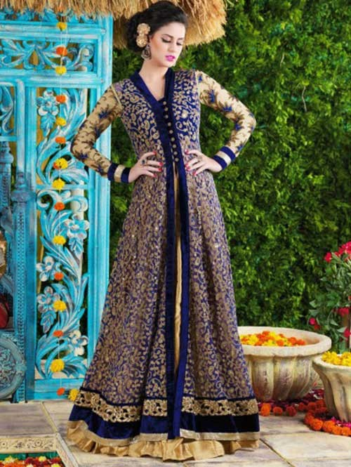 Blue Colored Beautiful Embroidered Net Salwar Suit