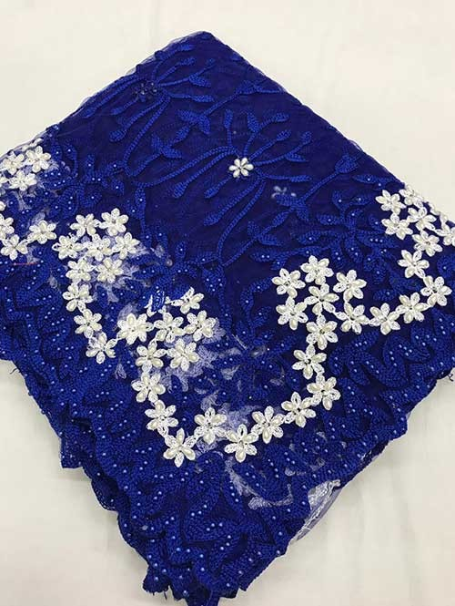 Blue Colored Beautiful Embroidered Net Saree With Dimond work and Pearl work