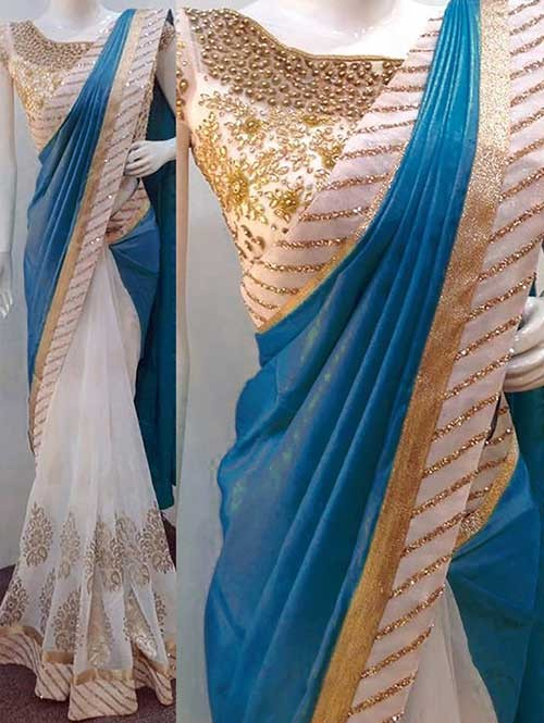 Blue Colored Beautiful Embroidered Paper Silk And 60gn Georgette Saree