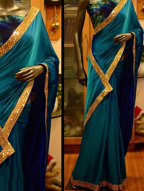 Blue Colored Beautiful Embroidered Paper Silk Saree