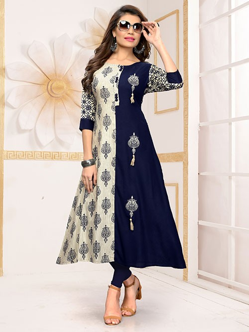 Blue Colored Beautiful Embroidered & Printed A-line Rayon Kurti