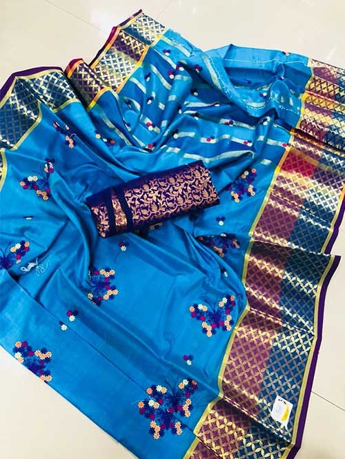 Blue Colored Beautiful Embroidered Pure Silk Cotton Saree